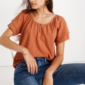 Madewell Texture & Thread Tiered Sleeve Top